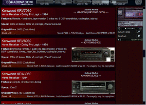 Audio/Video Component Archive (shown with EG2007's NAVbar at the top)