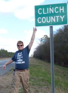 Me at the border of Clinch County (Georgia)
